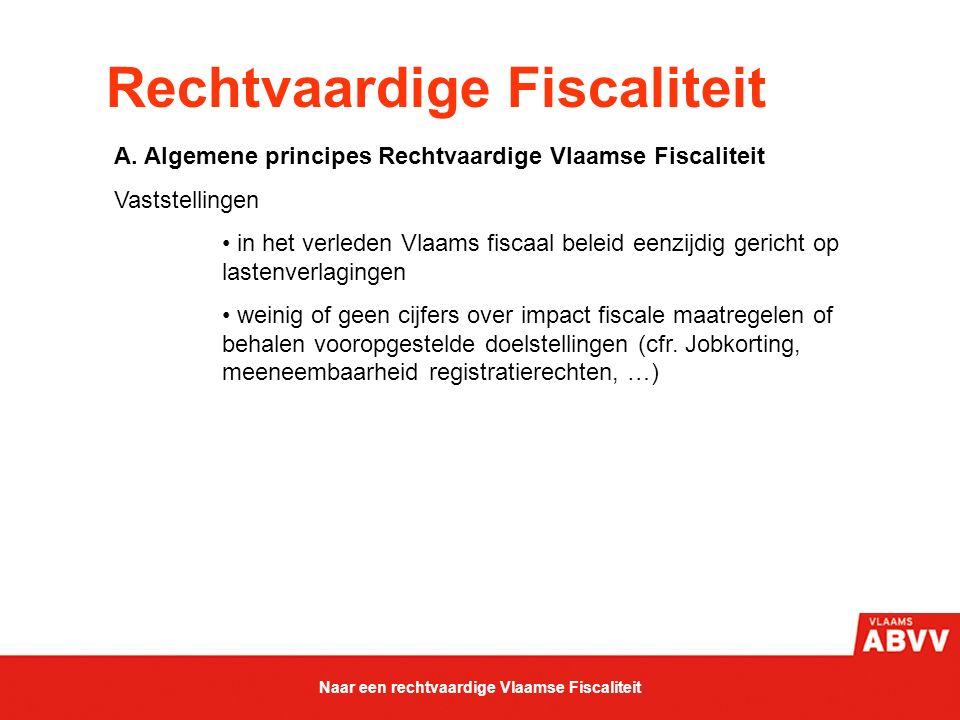 Rechtvaardige Fiscaliteit A. Algemene principes Rechtvaardige Vlaamse Fiscaliteit Vaststellingen in het verleden Vlaams fiscaal beleid eenzijdig geric
