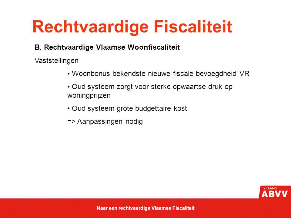 Rechtvaardige Fiscaliteit B. Rechtvaardige Vlaamse Woonfiscaliteit Vaststellingen Woonbonus bekendste nieuwe fiscale bevoegdheid VR Oud systeem zorgt