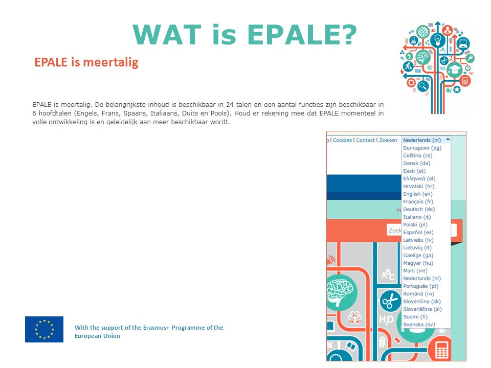 WAT is EPALE With the support of the Erasmus+ Programme of the European Union EPALE is meertalig