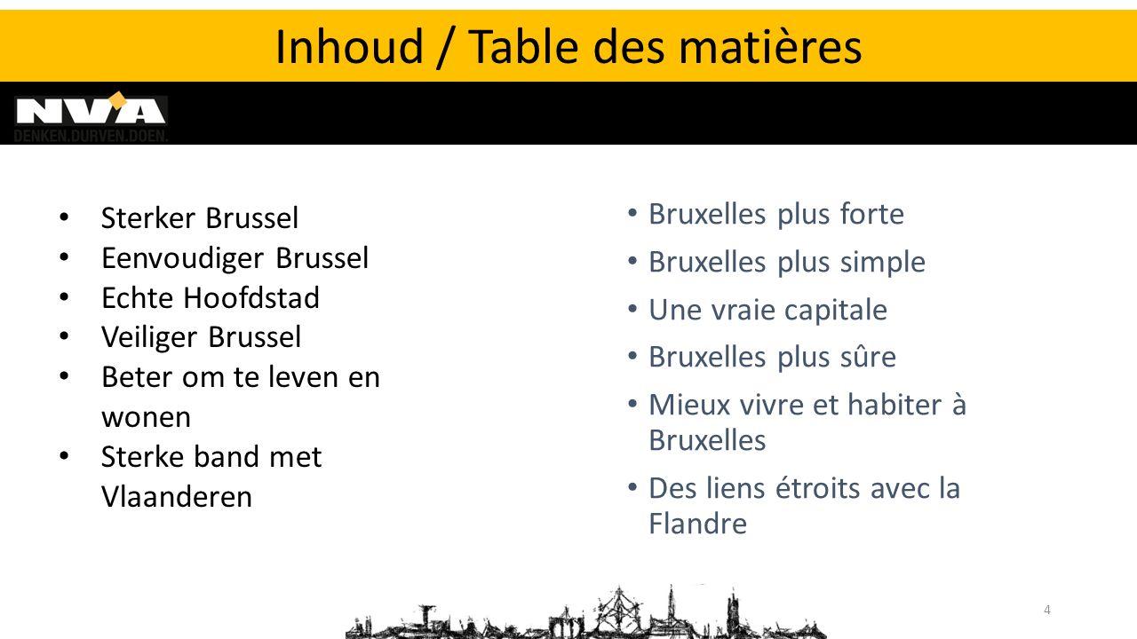 Bruxelles plus forte Bruxelles plus simple Une vraie capitale Bruxelles plus sûre Mieux vivre et habiter à Bruxelles Des liens étroits avec la Flandre