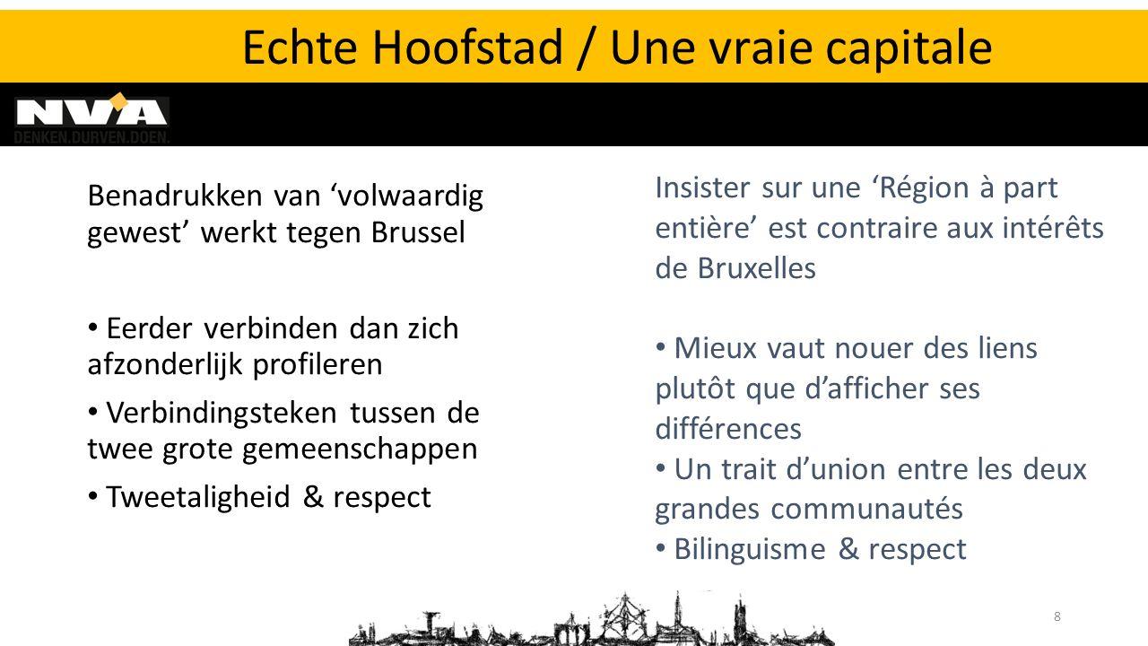 Benadrukken van 'volwaardig gewest' werkt tegen Brussel Eerder verbinden dan zich afzonderlijk profileren Verbindingsteken tussen de twee grote gemeen