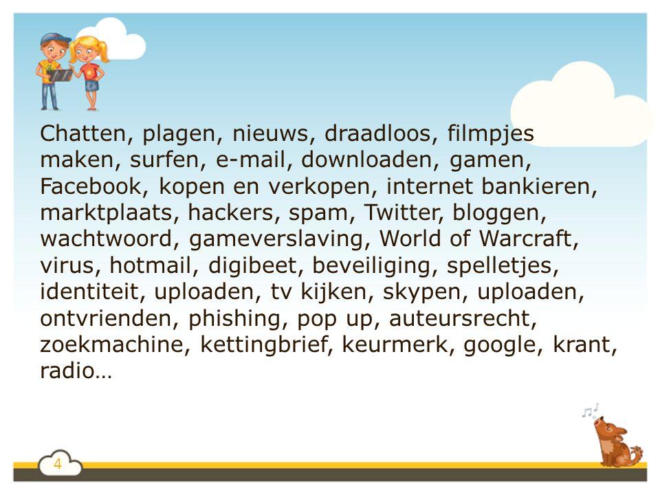 4 Chatten, plagen, nieuws, draadloos, filmpjes maken, surfen, e-mail, downloaden, gamen, Facebook, kopen en verkopen, internet bankieren, marktplaats, hackers, spam, Twitter, bloggen, wachtwoord, gameverslaving, World of Warcraft, virus, hotmail, digibeet, beveiliging, spelletjes, identiteit, uploaden, tv kijken, skypen, uploaden, ontvrienden, phishing, pop up, auteursrecht, zoekmachine, kettingbrief, keurmerk, google, krant, radio…