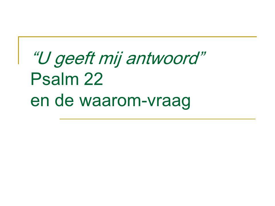 U geeft mij antwoord Psalm 22 en de waarom-vraag