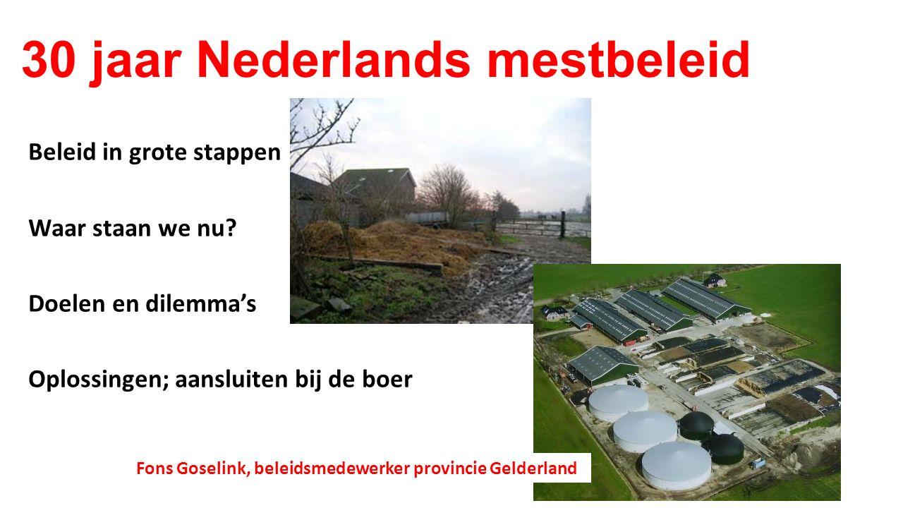 30 jaar Nederlands mestbeleid Beleid in grote stappen Waar staan we nu? Doelen en dilemma's Oplossingen; aansluiten bij de boer Fons Goselink, beleids