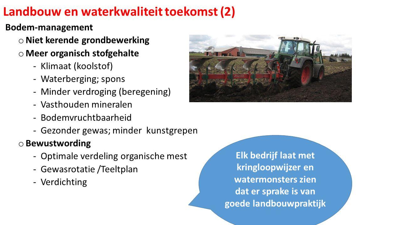 Bodem-management o Niet kerende grondbewerking o Meer organisch stofgehalte ‐Klimaat (koolstof) ‐Waterberging; spons ‐Minder verdroging (beregening) ‐