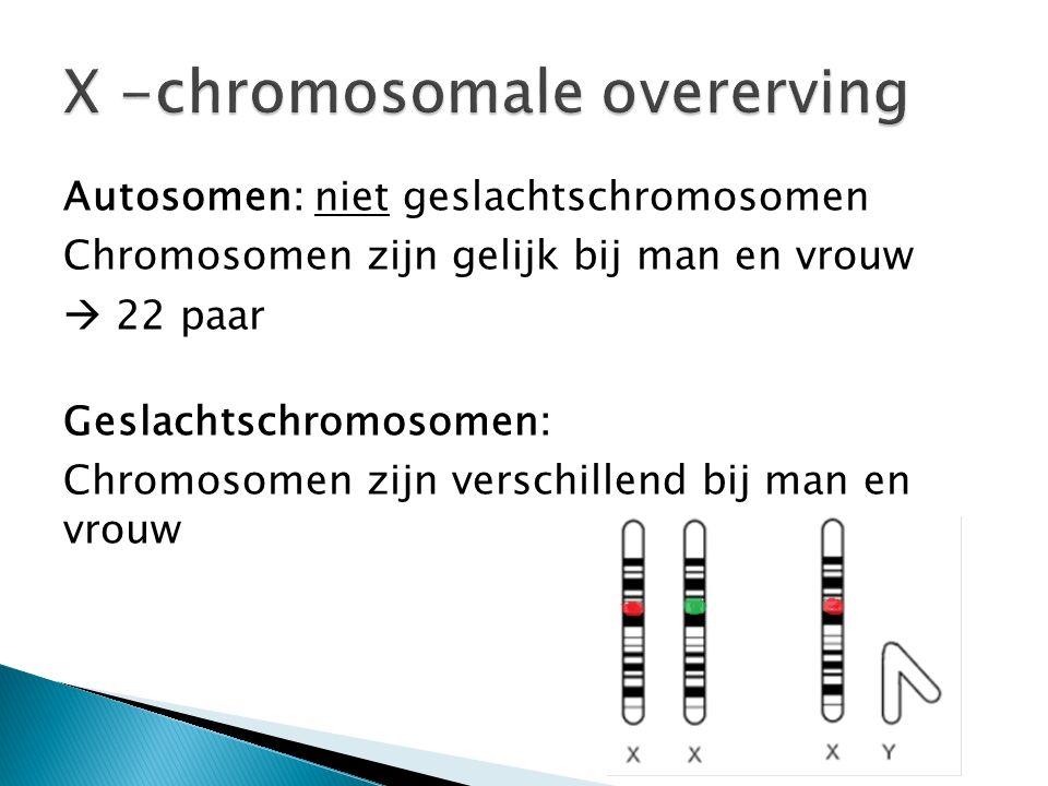 Autosomen: niet geslachtschromosomen Chromosomen zijn gelijk bij man en vrouw  22 paar Geslachtschromosomen: Chromosomen zijn verschillend bij man en