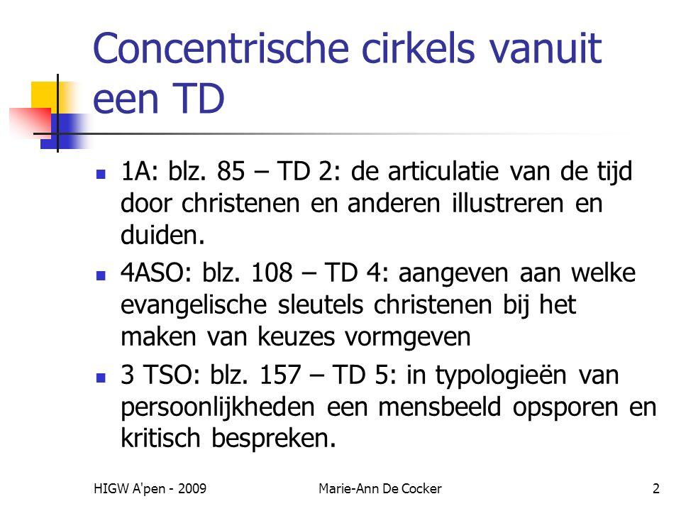 HIGW A pen - 2009Marie-Ann De Cocker13 Inzoomen op realisatie van TD – voorziene ingrediënten-let op nauwe band met andere TD Momenten van gebed (christenen en anderen: bv.