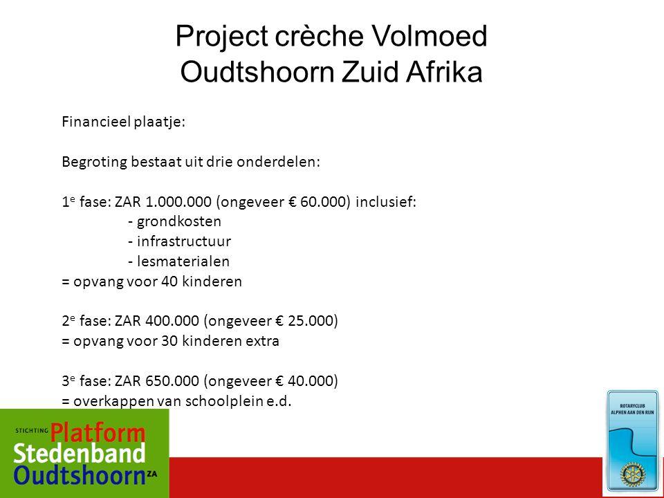 Project crèche Volmoed Oudtshoorn Zuid Afrika Financieel plaatje: Begroting bestaat uit drie onderdelen: 1 e fase: ZAR 1.000.000 (ongeveer € 60.000) i