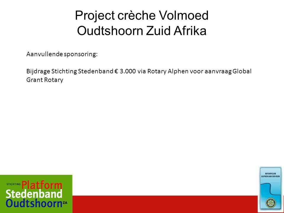 Project crèche Volmoed Oudtshoorn Zuid Afrika Aanvullende sponsoring: Bijdrage Stichting Stedenband € 3.000 via Rotary Alphen voor aanvraag Global Gra
