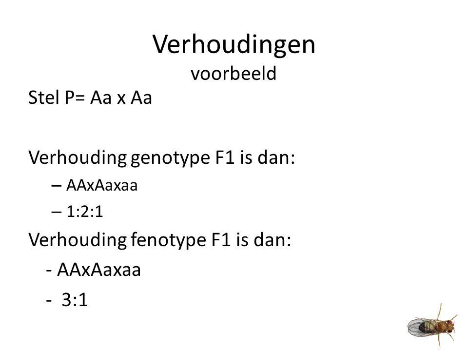 Verhoudingen voorbeeld Stel P= Aa x Aa Verhouding genotype F1 is dan: – AAxAaxaa – 1:2:1 Verhouding fenotype F1 is dan: - AAxAaxaa - 3:1