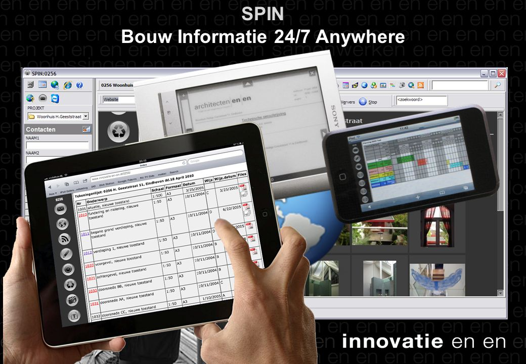 SPIN-intro SPIN Bouw Informatie 24/7 Anywhere Snel publiceren