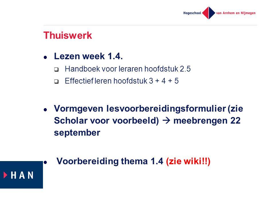Thuiswerk Lezen week 1.4.
