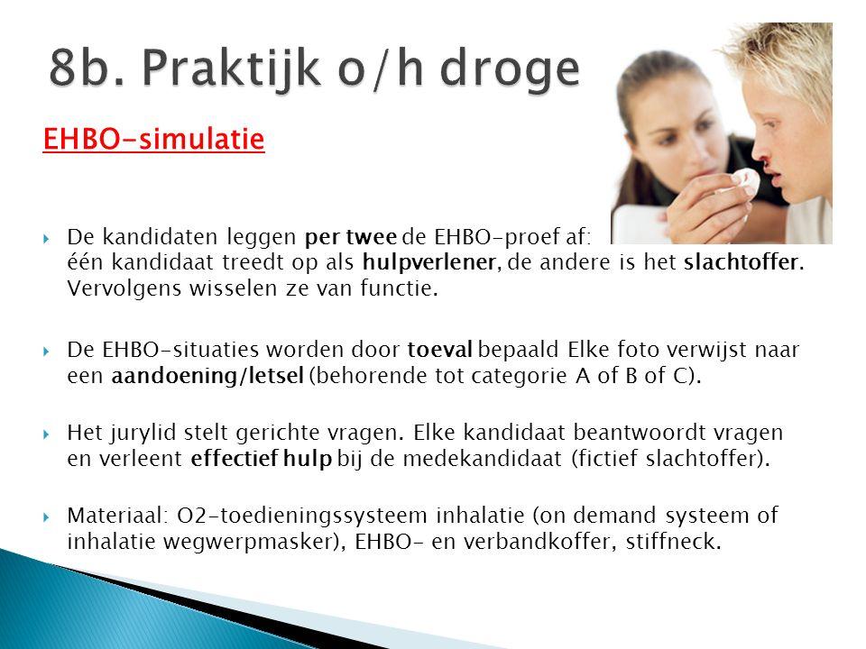 EHBO-simulatie  De kandidaten leggen per twee de EHBO-proef af: één kandidaat treedt op als hulpverlener, de andere is het slachtoffer. Vervolgens wi
