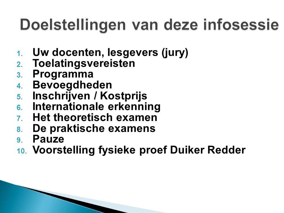 1. Uw docenten, lesgevers (jury) 2. Toelatingsvereisten 3. Programma 4. Bevoegdheden 5. Inschrijven / Kostprijs 6. Internationale erkenning 7. Het the