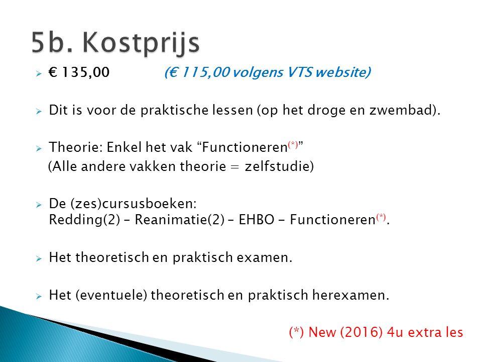 """ € 135,00 (€ 115,00 volgens VTS website)  Dit is voor de praktische lessen (op het droge en zwembad).  Theorie: Enkel het vak """"Functioneren (*) """" ("""