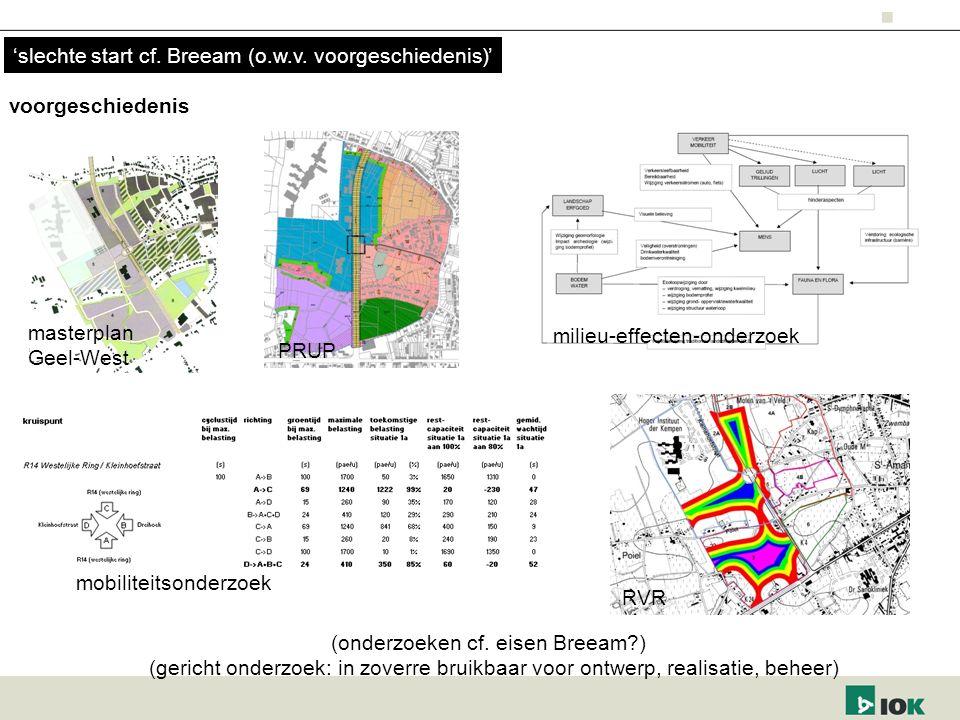 voorgeschiedenis PRUP masterplan Geel-West RVR milieu-effecten-onderzoek mobiliteitsonderzoek 'slechte start cf. Breeam (o.w.v. voorgeschiedenis)' (on