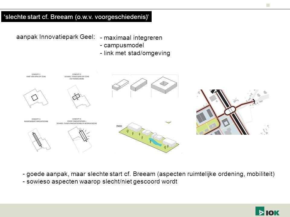 - maximaal integreren - campusmodel - link met stad/omgeving aanpak Innovatiepark Geel: - goede aanpak, maar slechte start cf. Breeam (aspecten ruimte