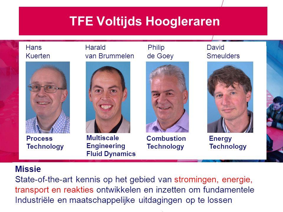 TFE Voltijds Hoogleraren Hans Harald Philip David Kuerten van Brummelen de Goey Smeulders Process Technology Missie State-of-the-art kennis op het gebied van stromingen, energie, transport en reakties ontwikkelen en inzetten om fundamentele Industriële en maatschappelijke uitdagingen op te lossen Combustion Technology Energy Technology Multiscale Engineering Fluid Dynamics