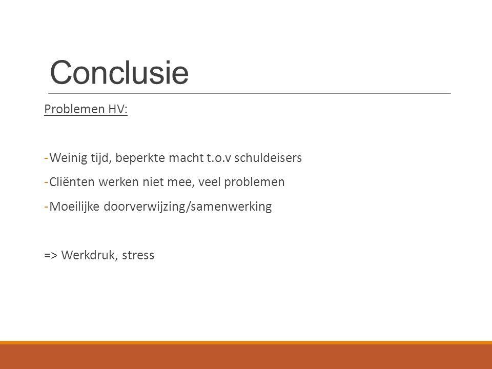 Conclusie Problemen HV: -Weinig tijd, beperkte macht t.o.v schuldeisers -Cliënten werken niet mee, veel problemen -Moeilijke doorverwijzing/samenwerking => Werkdruk, stress