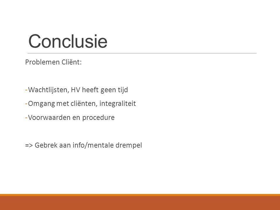 Problemen Cliënt: -Wachtlijsten, HV heeft geen tijd -Omgang met cliënten, integraliteit -Voorwaarden en procedure => Gebrek aan info/mentale drempel