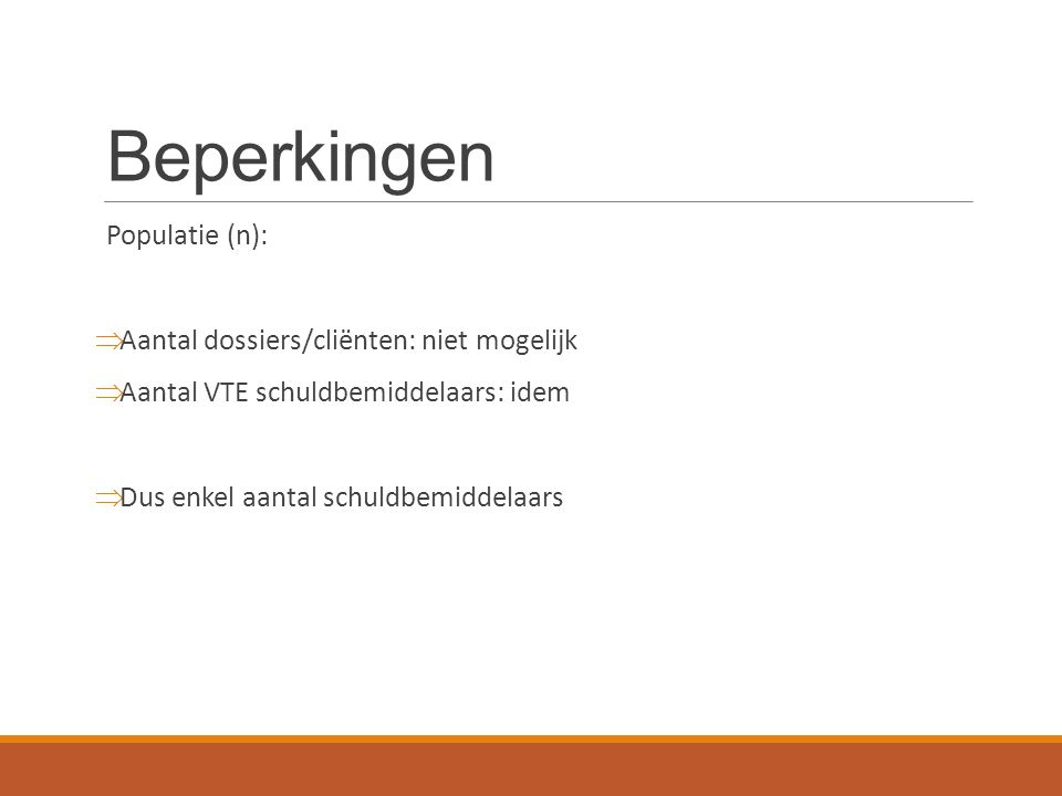 Beperkingen Populatie (n):  Aantal dossiers/cliënten: niet mogelijk  Aantal VTE schuldbemiddelaars: idem  Dus enkel aantal schuldbemiddelaars