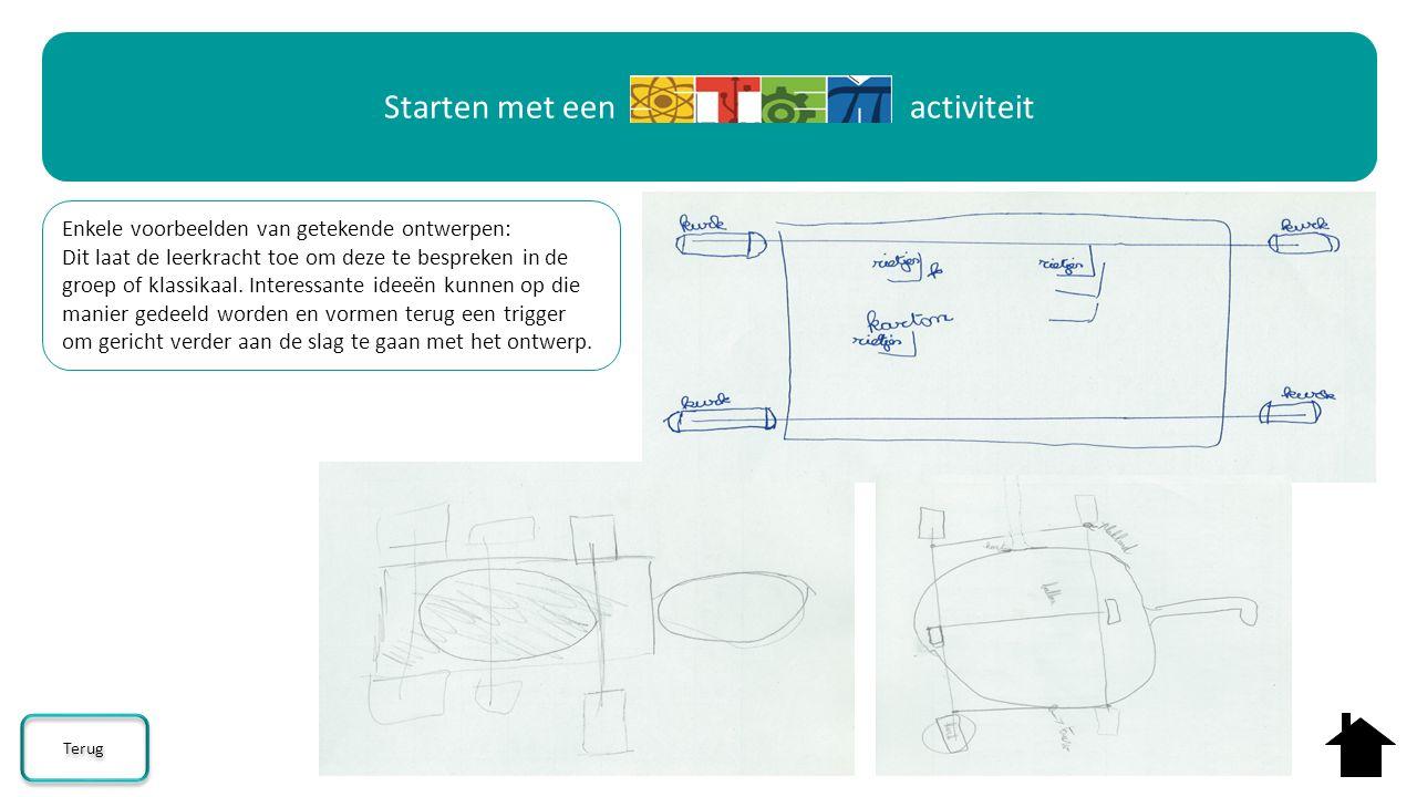 Enkele voorbeelden van getekende ontwerpen: Dit laat de leerkracht toe om deze te bespreken in de groep of klassikaal. Interessante ideeën kunnen op d