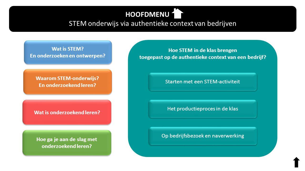 Hoe STEM in de klas brengen toegepast op de authentieke context van een bedrijf? HOOFDMENU STEM onderwijs via authentieke context van bedrijven Wat is