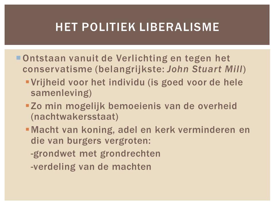  Ontstaan vanuit de Verlichting en tegen het conservatisme (belangrijkste: John Stuart Mill)  Vrijheid voor het individu (is goed voor de hele samen