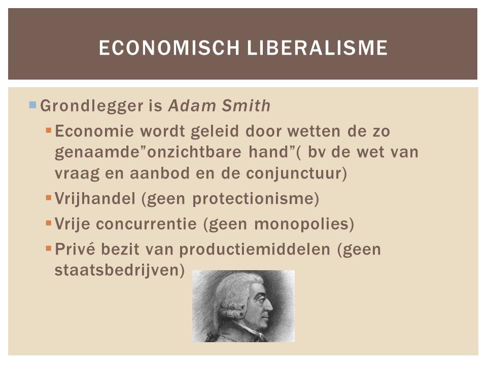 """ Grondlegger is Adam Smith  Economie wordt geleid door wetten de zo genaamde""""onzichtbare hand""""( bv de wet van vraag en aanbod en de conjunctuur)  V"""