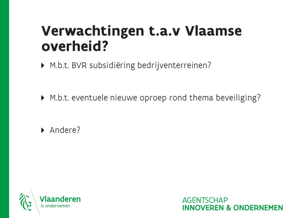 Verwachtingen t.a.v Vlaamse overheid? M.b.t. BVR subsidiëring bedrijventerreinen? M.b.t. eventuele nieuwe oproep rond thema beveiliging? Andere?