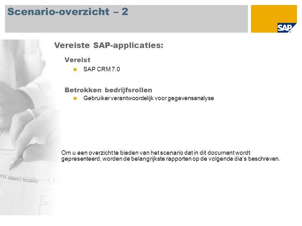 Scenario-overzicht – 2 Vereist SAP CRM 7.0 Betrokken bedrijfsrollen Gebruiker verantwoordelijk voor gegevensanalyse Vereiste SAP-applicaties: Om u een overzicht te bieden van het scenario dat in dit document wordt gepresenteerd, worden de belangrijkste rapporten op de volgende dia s beschreven.