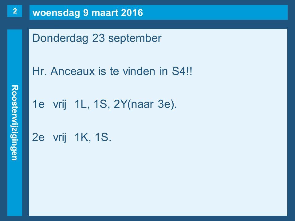 woensdag 9 maart 2016 Roosterwijzigingen Donderdag 23 september Hr. Anceaux is te vinden in S4!! 1evrij1L, 1S, 2Y(naar 3e). 2evrij1K, 1S. 2