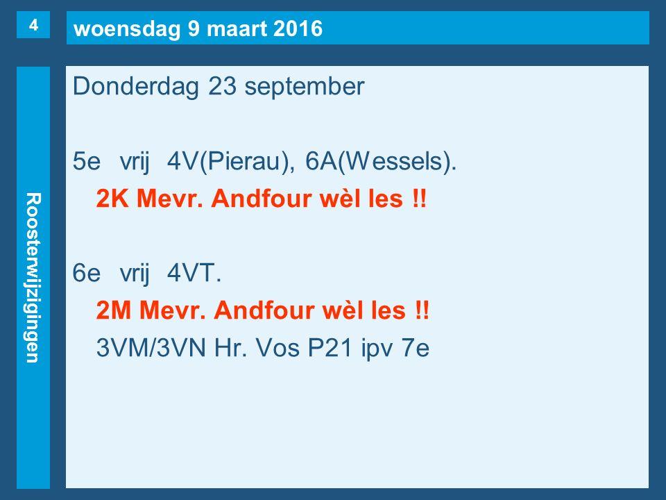 woensdag 9 maart 2016 Roosterwijzigingen Donderdag 23 september 5evrij4V(Pierau), 6A(Wessels). 2K Mevr. Andfour wèl les !! 6evrij4VT. 2M Mevr. Andfour