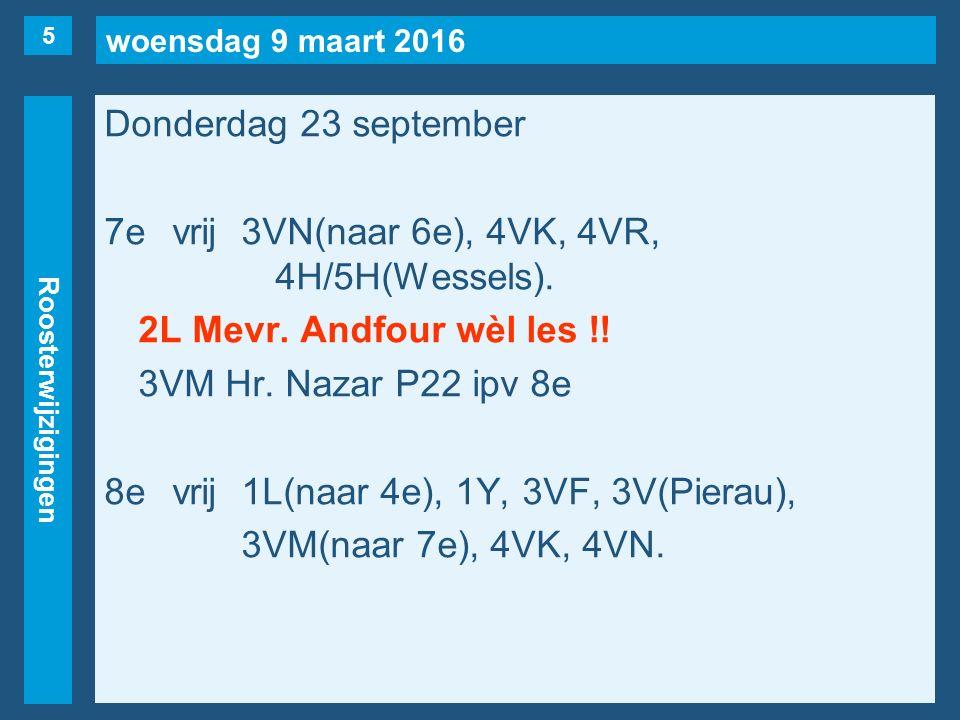 woensdag 9 maart 2016 Roosterwijzigingen Donderdag 23 september 7evrij3VN(naar 6e), 4VK, 4VR, 4H/5H(Wessels). 2L Mevr. Andfour wèl les !! 3VM Hr. Naza