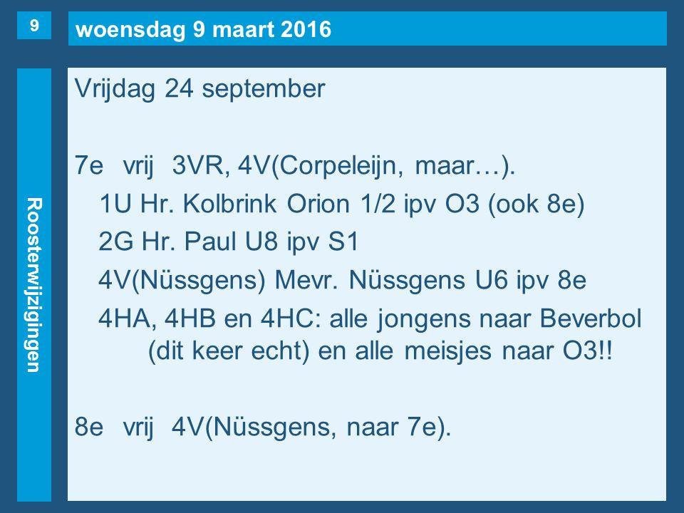 woensdag 9 maart 2016 Roosterwijzigingen Vrijdag 24 september 7evrij3VR, 4V(Corpeleijn, maar…). 1U Hr. Kolbrink Orion 1/2 ipv O3 (ook 8e) 2G Hr. Paul