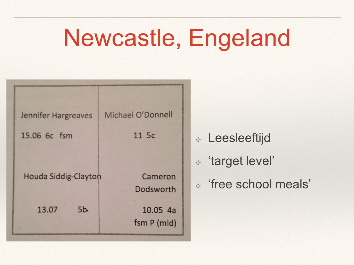 Newcastle, Engeland ❖ Leesleeftijd ❖ 'target level' ❖ 'free school meals'