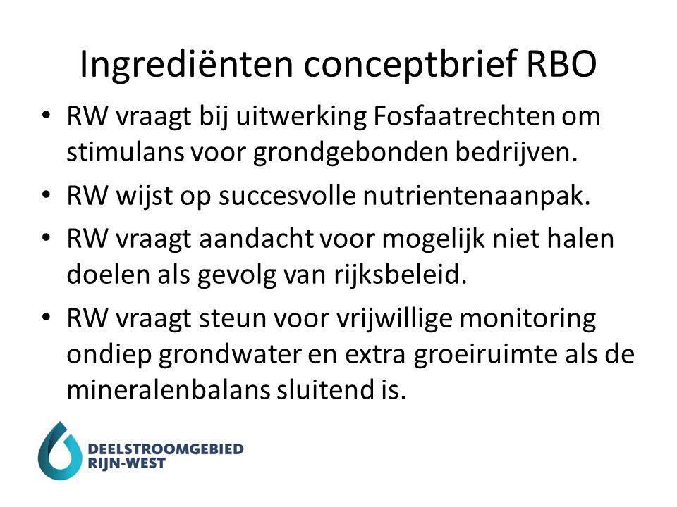 Ingrediënten conceptbrief RBO RW vraagt bij uitwerking Fosfaatrechten om stimulans voor grondgebonden bedrijven. RW wijst op succesvolle nutrientenaan