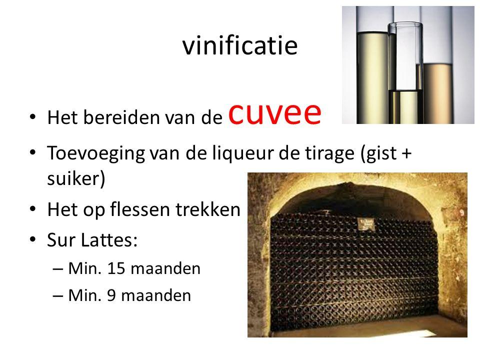 vinificatie Het bereiden van de cuvee Toevoeging van de liqueur de tirage (gist + suiker) Het op flessen trekken Sur Lattes: – Min.