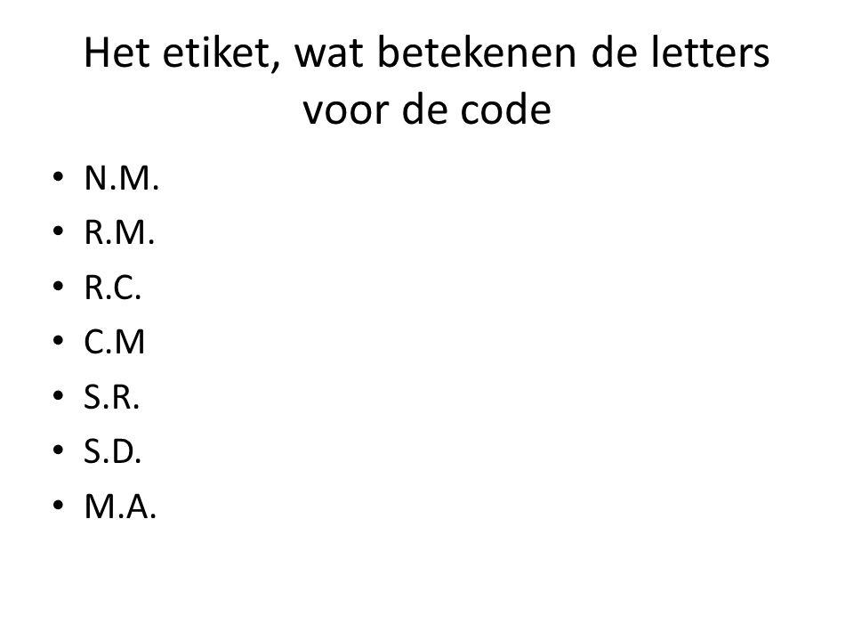 Het etiket, wat betekenen de letters voor de code N.M. R.M. R.C. C.M S.R. S.D. M.A.