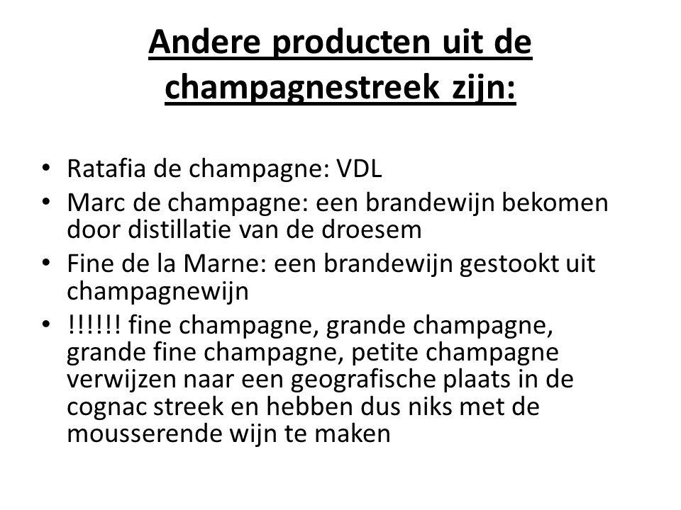 Andere producten uit de champagnestreek zijn: Ratafia de champagne: VDL Marc de champagne: een brandewijn bekomen door distillatie van de droesem Fine de la Marne: een brandewijn gestookt uit champagnewijn !!!!!.