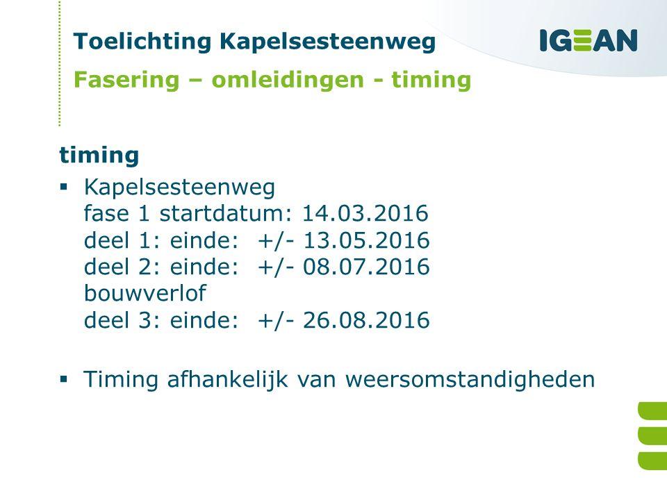 Toelichting Kapelsesteenweg  Kapelsesteenweg fase 1 startdatum: 14.03.2016 deel 1: einde: +/- 13.05.2016 deel 2: einde: +/- 08.07.2016 bouwverlof deel 3: einde: +/- 26.08.2016  Timing afhankelijk van weersomstandigheden Fasering – omleidingen - timing timing