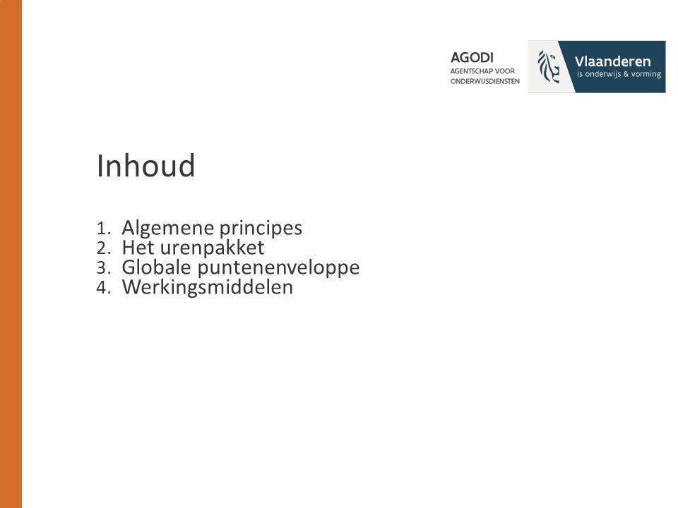 1. Algemene principes 2. Het urenpakket 3. Globale puntenenveloppe 4. Werkingsmiddelen Inhoud