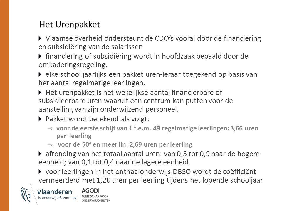 Het Urenpakket Vlaamse overheid ondersteunt de CDO's vooral door de financiering en subsidiëring van de salarissen financiering of subsidiëring wordt in hoofdzaak bepaald door de omkaderingsregeling.