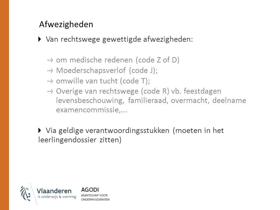 Afwezigheden Van rechtswege gewettigde afwezigheden: om medische redenen (code Z of D) Moederschapsverlof (code J); omwille van tucht (code T); Overige van rechtswege (code R) vb.