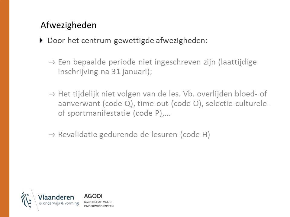 Afwezigheden Door het centrum gewettigde afwezigheden: Een bepaalde periode niet ingeschreven zijn (laattijdige inschrijving na 31 januari); Het tijdelijk niet volgen van de les.