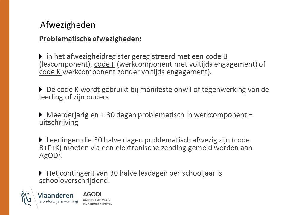 Afwezigheden Problematische afwezigheden: in het afwezigheidregister geregistreerd met een code B (lescomponent), code F (werkcomponent met voltijds engagement) of code K werkcomponent zonder voltijds engagement).