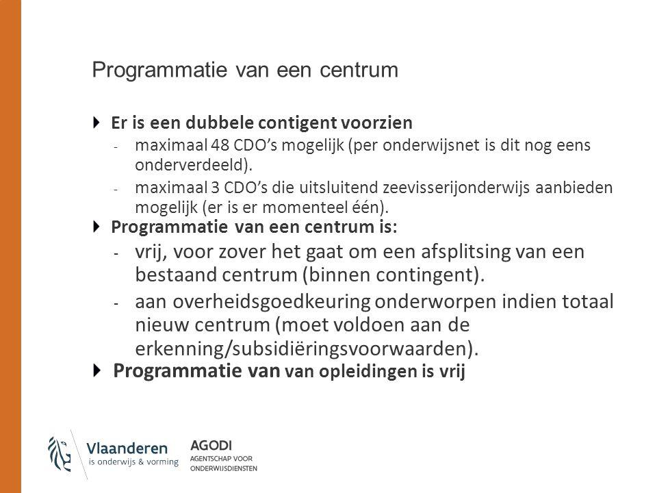 Programmatie van een centrum Er is een dubbele contigent voorzien - maximaal 48 CDO's mogelijk (per onderwijsnet is dit nog eens onderverdeeld).