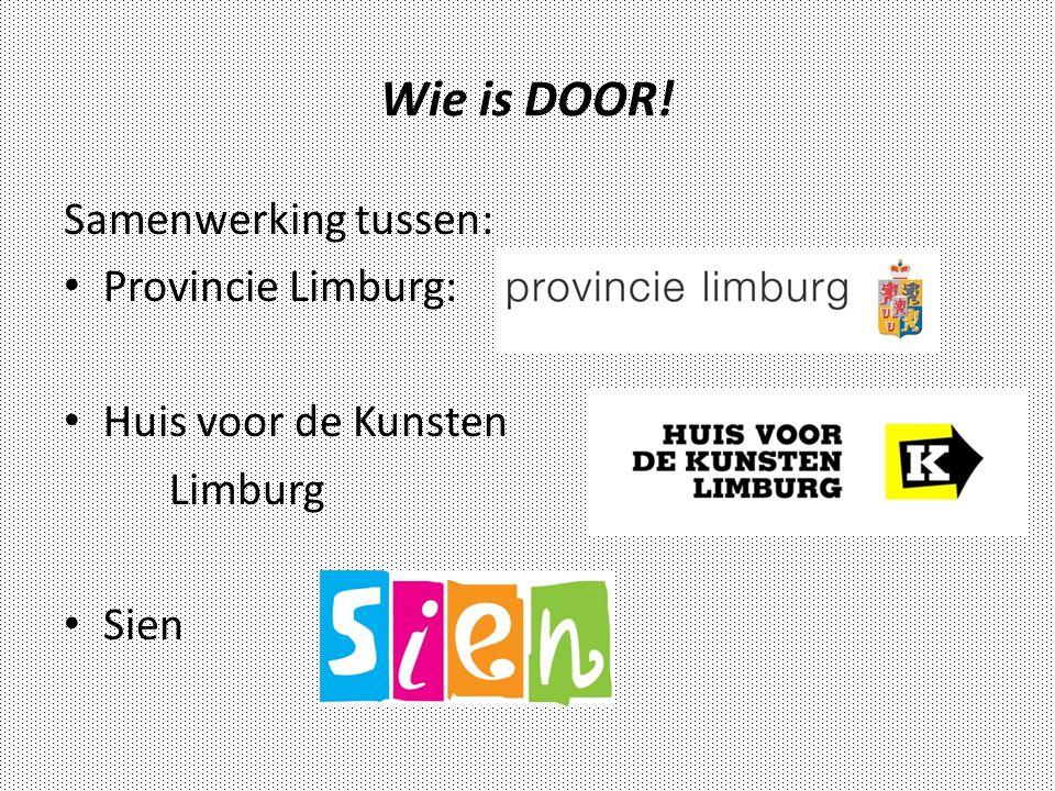 Wie is DOOR! Samenwerking tussen: Provincie Limburg: Huis voor de Kunsten Limburg Sien