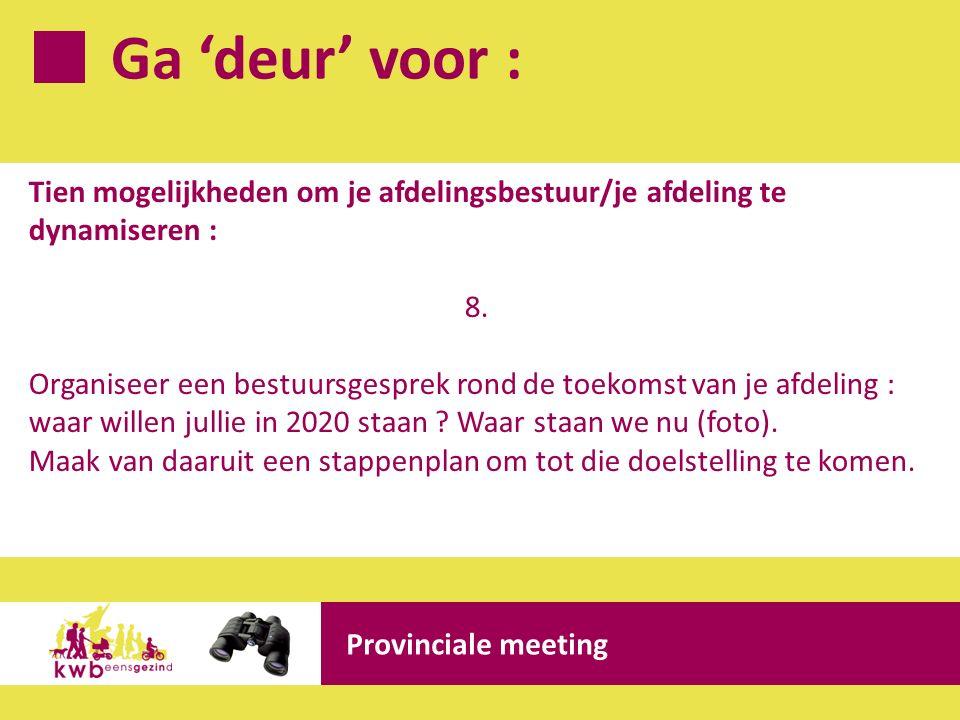 Ga 'deur' voor : Provinciale meeting Tien mogelijkheden om je afdelingsbestuur/je afdeling te dynamiseren : 8. Organiseer een bestuursgesprek rond de