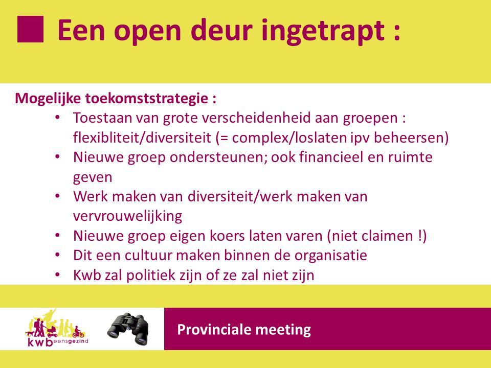 Een open deur ingetrapt : Provinciale meeting Mogelijke toekomststrategie : Toestaan van grote verscheidenheid aan groepen : flexibliteit/diversiteit